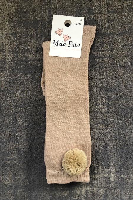 Meia pata beige pom pom knee high sock