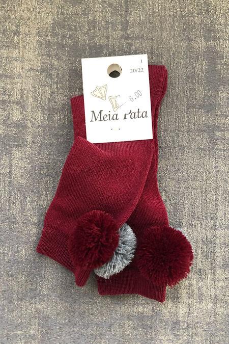 Meia Pata maroon pom pom sock