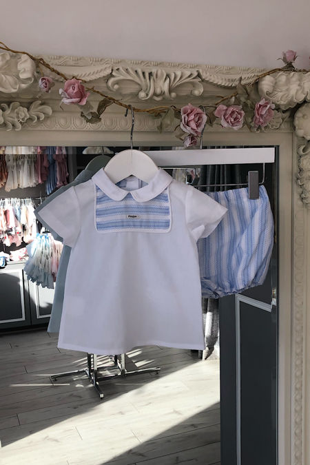 Foque baby boys blue and white stripe set