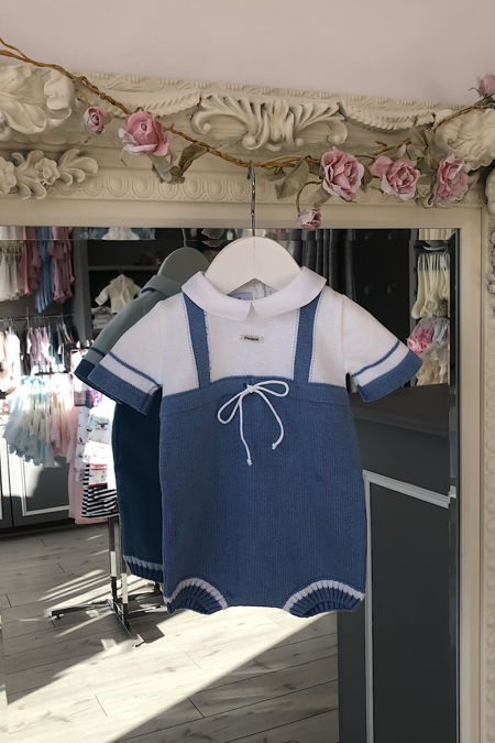 Foque blue and white knitted romper