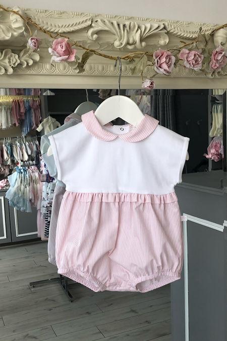 Laranjinha baby girls pink and white stripe romper