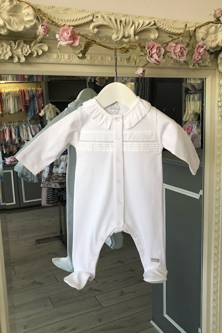 Laranjinha frill collar white baby grow
