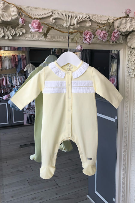 Laranjinha frill collar lemon baby grow