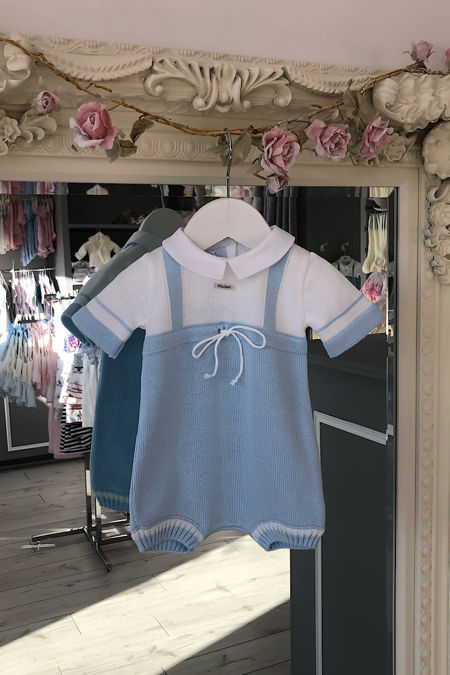 Foque baby blue and white knitted romper