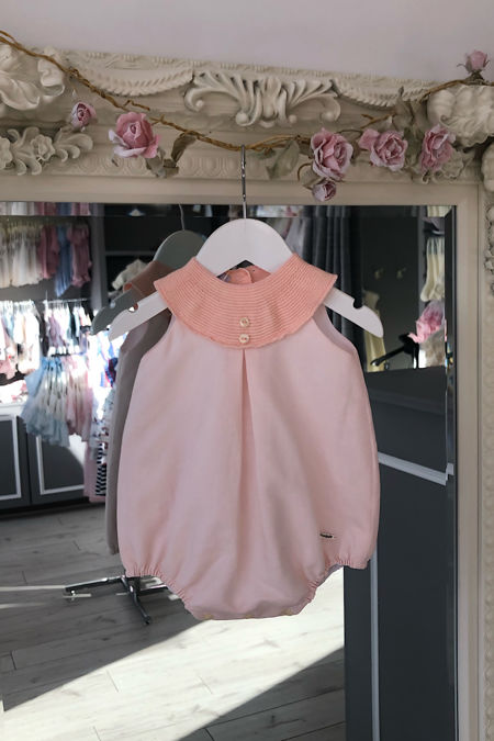 Foque peach linen and knitted romper