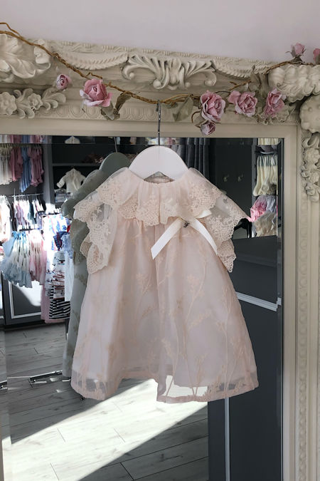 Foque beige floral embroidered dress