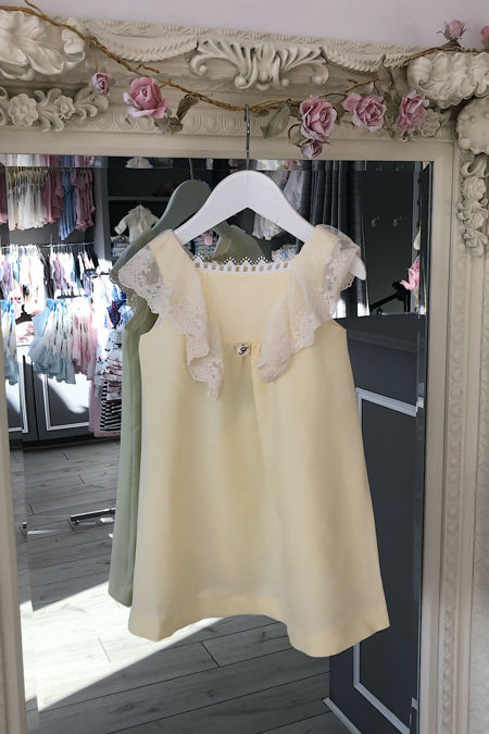 Foque girls lemon and cream lace trim dress