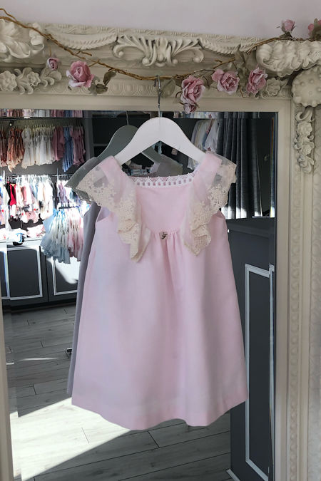 Foque girls pink and cream lace trim dress