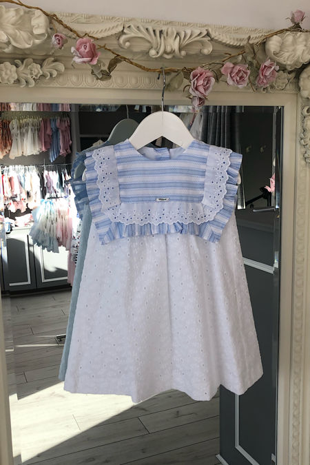 Foque girls blue and white broderie anglaise dress
