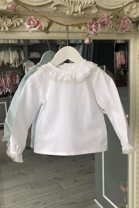 Amelia white tulle trim blouse