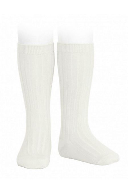 Condor cream ribbed knee-high socks