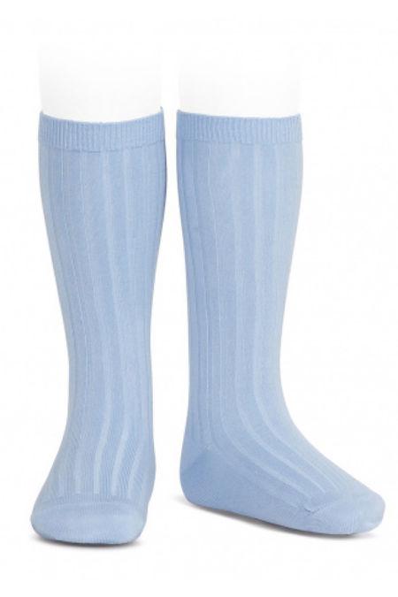 Condor dusky blue ribbed knee-high socks