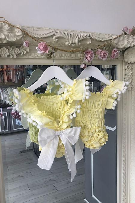 Phi lemon and white cotton beach romper