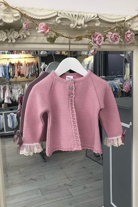 Valentina dusky pink lace trim cardigan