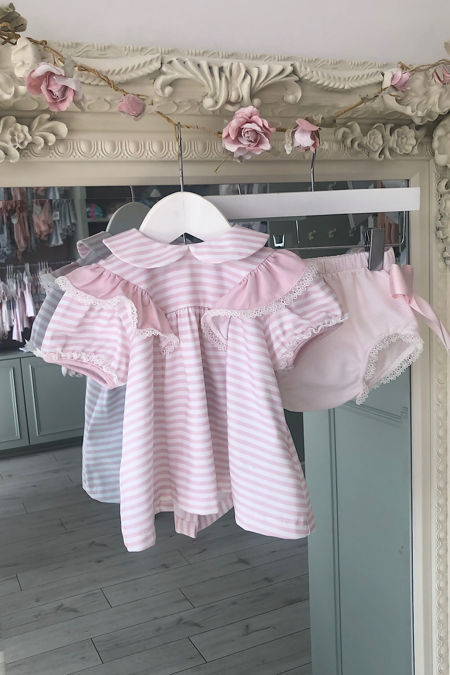 Piccola Speranza pink and white striped two piece set
