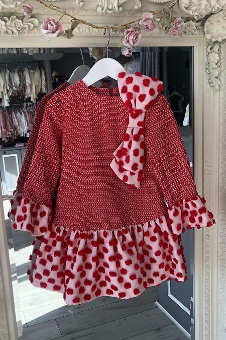 Jose Varon red and pink pom pom dress