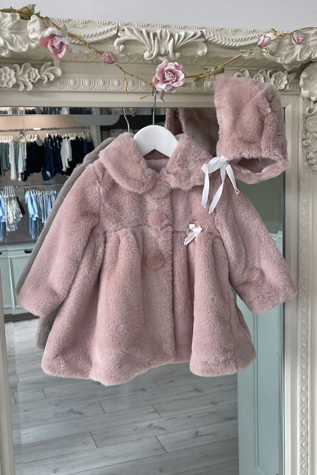 Marta Y Paula dusky pink faux fur coat and bonnet