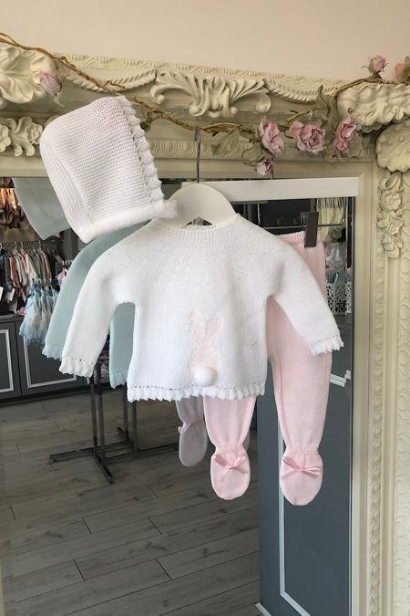 Blake knitted bunny set pink
