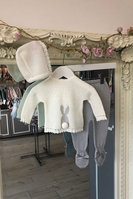 Blake knitted bunny set grey
