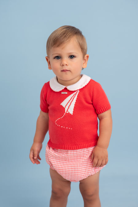 Foque coral gingham knitted set