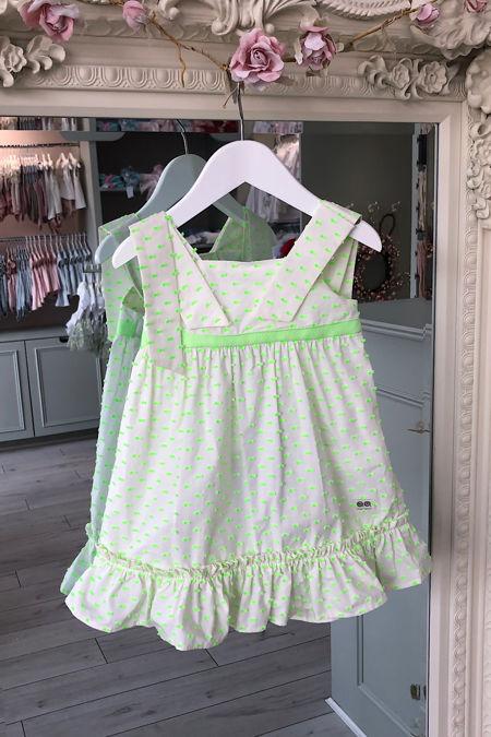 Jose Varon neon green Swiss dot dress