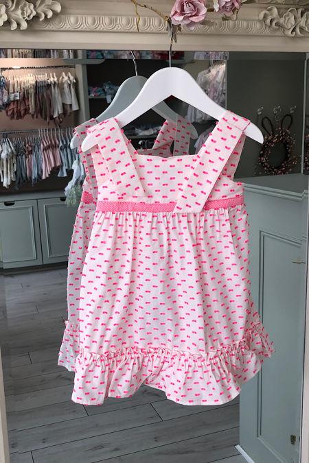 Jose Varon neon pink Swiss dot dress