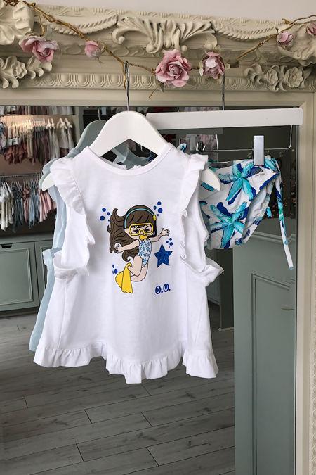 Jose Varon blue starfish t shirt and swim knickers set