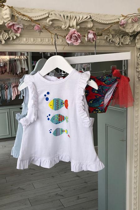 Jose Varon red fish print swim knickers and t-shirt
