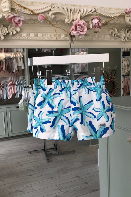 Jose Varon blue starfish print swim shorts