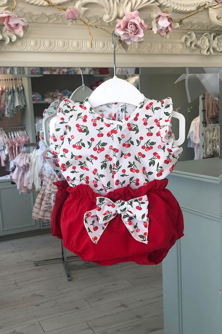 Cherry print two piece set