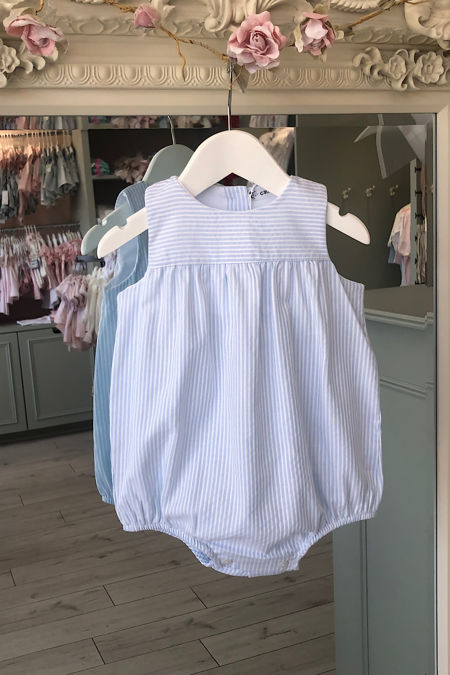 Paris blue striped romper