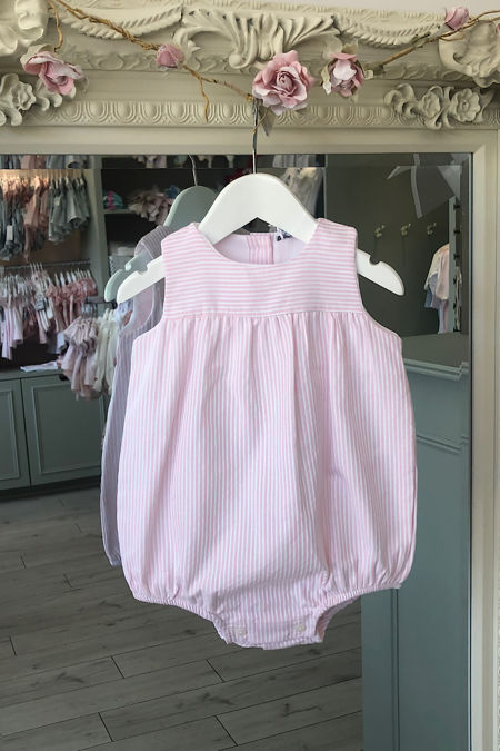 Paris pink striped romper