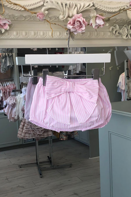 Pink striped bow back bloomers