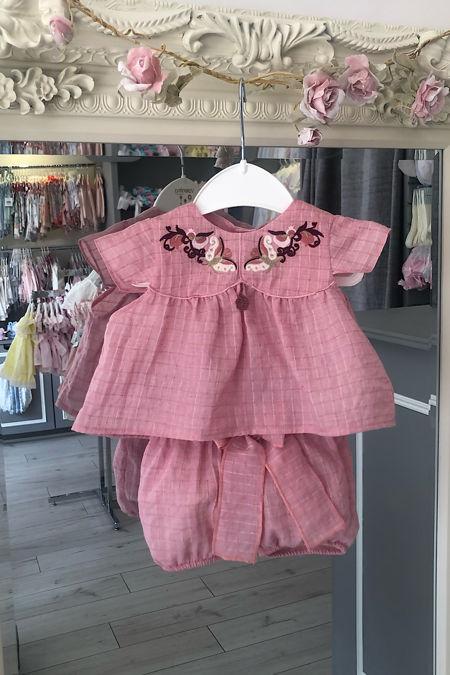 Ella pink embroidered set