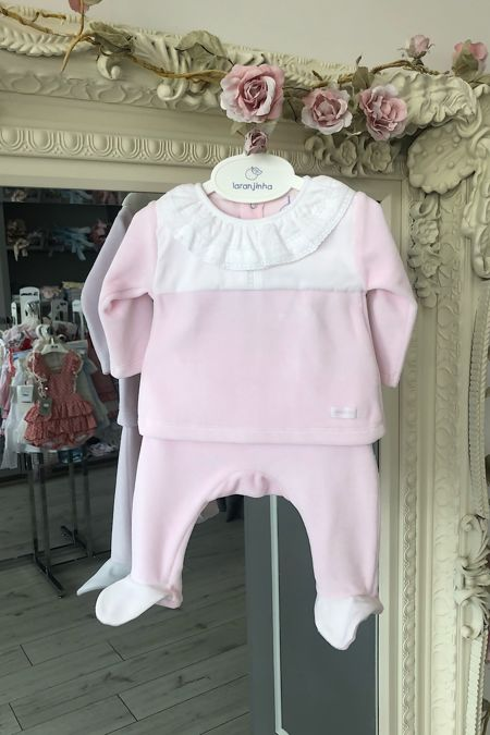 Laranjinha baby pink velour two piece