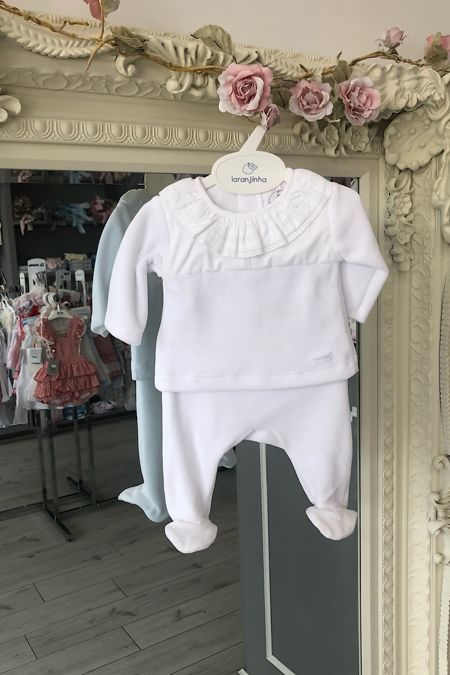 Laranjinha white velour two piece