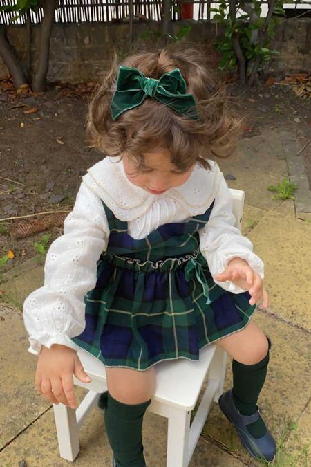 Valentina Eliza green tartan romper and blouse set