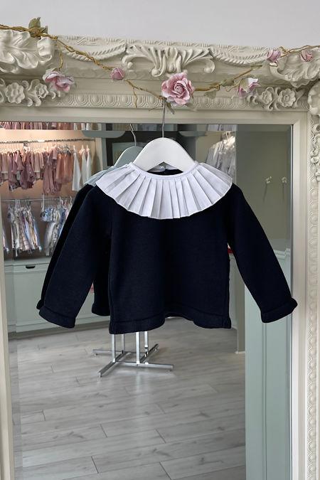 Navy blue frill collar jumper
