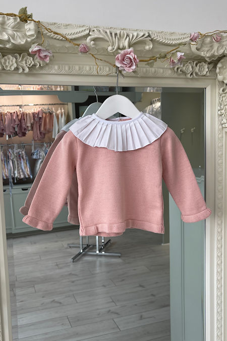 Blush pink frill collar jumper