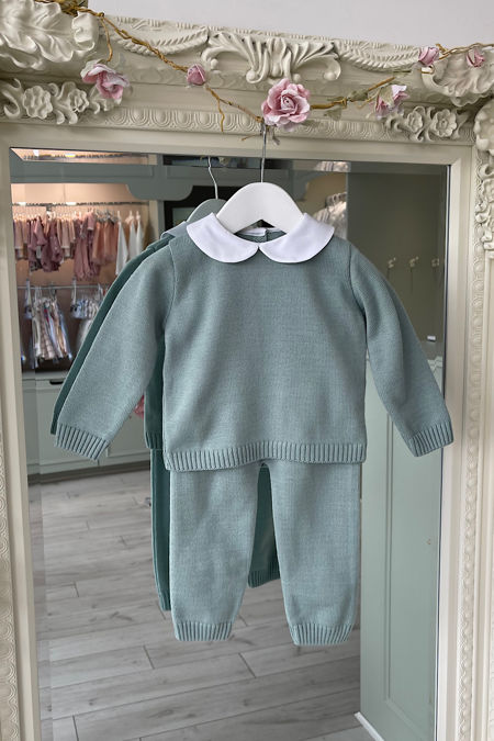 Dry green knitted peter pan collar tracksuit