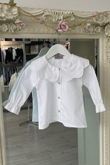 Phi white scallop collar blouse
