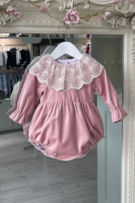 Phi lace collar dusky pink romper