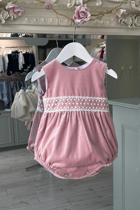 Phi dusky pink velvet lace trim romper