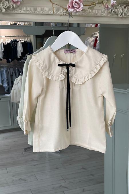 Phi ivory velvet bow blouse
