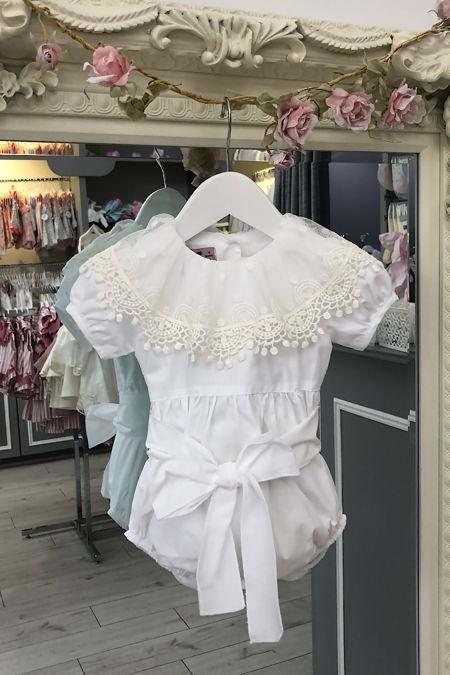 Phi Talulah white lace collar romper