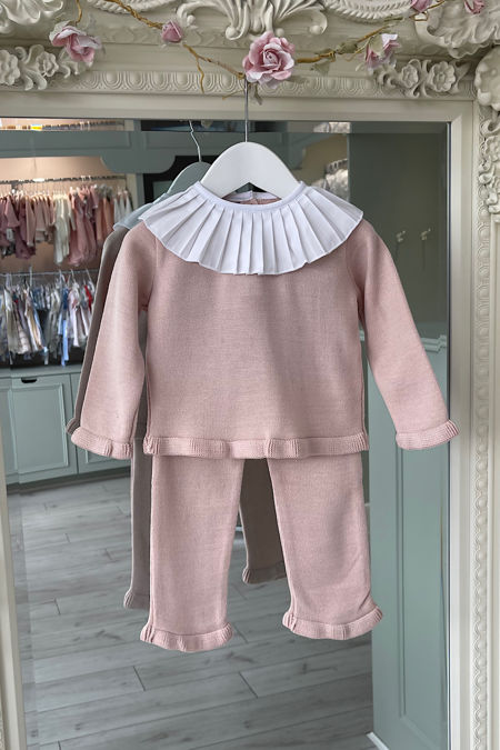 Pale dusky pink knitted frill collar tracksuit
