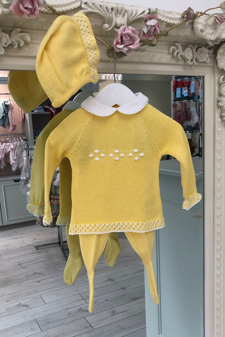 Juliana yellow knitted three piece set
