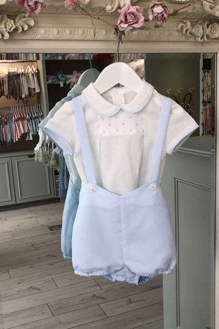 Yoedu blue and cream romper and shirt set