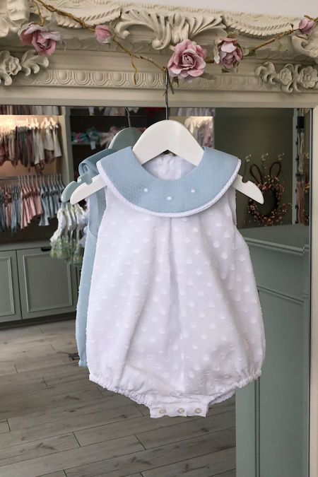 Yoedu bertie blue and white romper