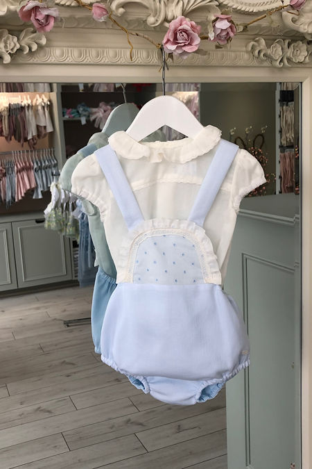 Yoedu Isabel blue and cream romper set